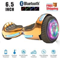 "UL 2272 Listed 6.5"" Hoverboard TOP LED Two-Wheel Self Balancing Scooter with Speaker  New Chrome Rosegold"