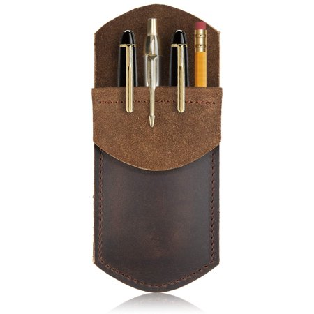 Rustic Leather Pocket Protector for Pens, Pencils, Office & Work Essentials, Pen Holder is Handmade by Nabob Leather (Brown)