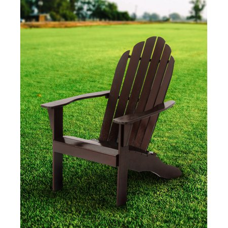 Mainstays Wood Outdoor Adirondack Chair, Dark Brown
