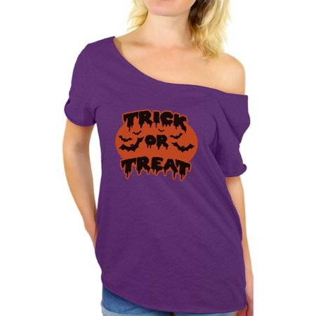 0f739d30e411 Awkward Styles Women s Halloween Graphic Off Shoulder Tops T-shirt Trick or  Treat Scary Bats