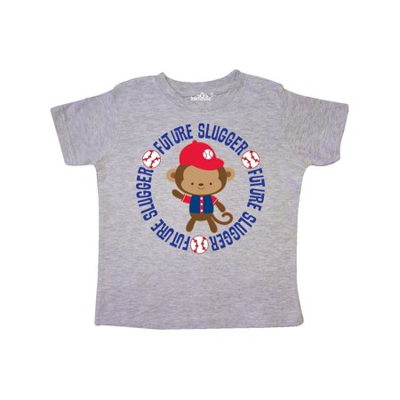 Future Slugger Childs Baseball Monkey Toddler T-Shirt - Monkey Baseball