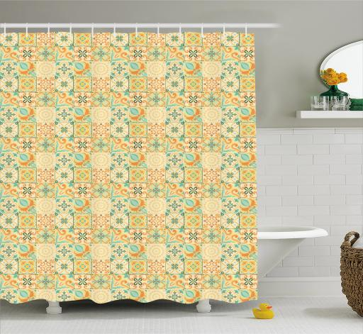 Vintage Shower Curtain Italian Style Checkered Pattern With Floral