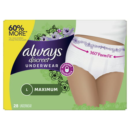 Always Discreet, Incontinence Underwear for Women, Maximum, Large, 28 Count (Discreet Bladder Protection Underwear)