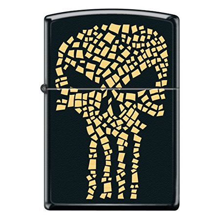 Zippo Black Matte Gold Flake Punisher Skull Custom Zippo Windproof Collectible Lighter. Made in USA Limited Edition Zippo Limited Edition