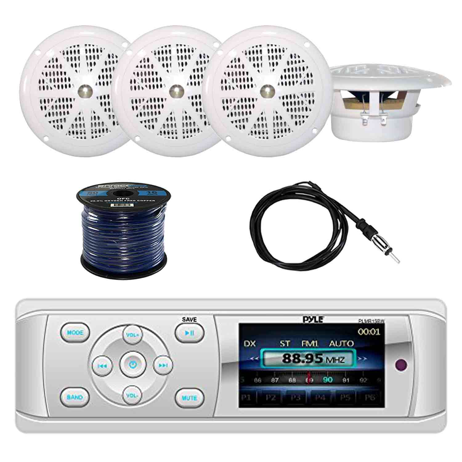 Pyle PLMR15BW Bluetooth Marine Stereo Radio Receiver with Pyle PLMR41W 4'' Dual Cone Waterproof Stereo Speakers(2-Pairs)(White), Enrock EKMR2 Marine Antenna & Enrock Marine 50' 16-Gauge Speaker Wire
