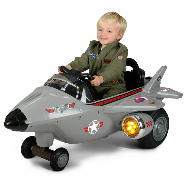 Hyper Toys 6 volt Top Gun Jet Battery Powered Ride On for Boys and Girls, Gray