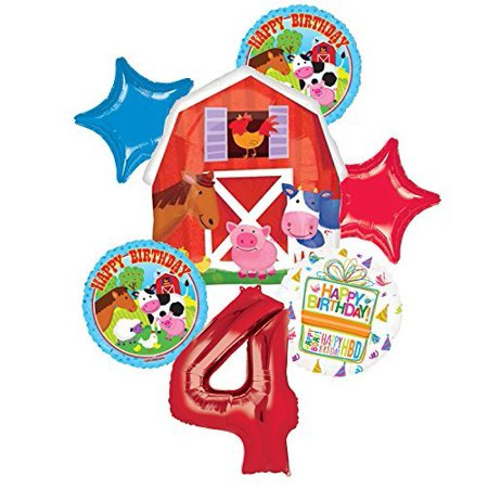 Farm Animal 4th Birthday Party Supplies and Barn Balloon Bouquet Decorations (Barn Party Supplies)