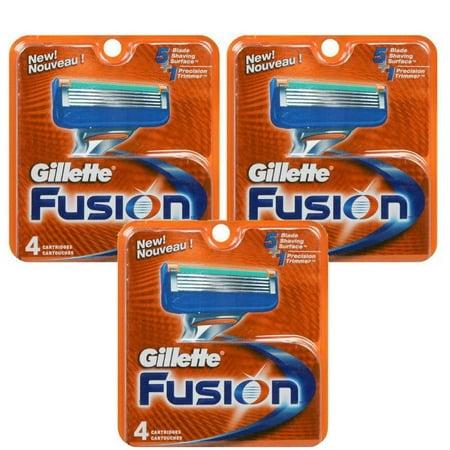 12 Gillette Fusion Mens Razor Blade Refill (Monogrammed Fusion)