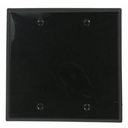Leviton 80725-E Blank Wallplate, 2-Gang, Nylon, Black, Standard, Box Mount