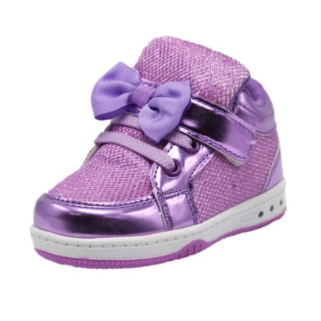 Dream Seek Girls Toddler 9053 Velcro Strap Elastic Lace Bow Tie Light Up Casual Fashion Sneaker Shoe (6 M US Toddler, Purple)