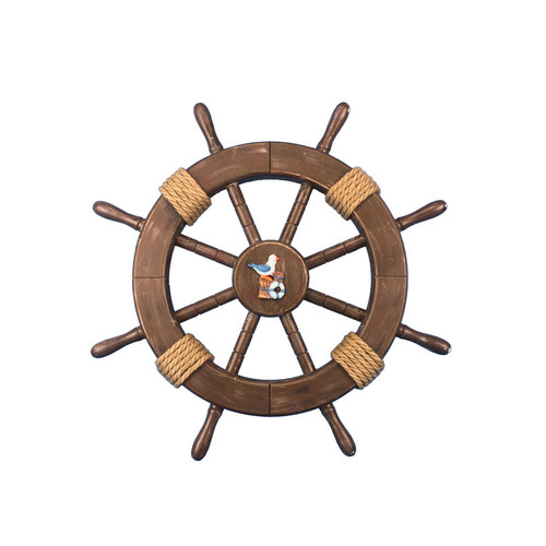 Handcrafted Nautical Decor Rustic Ship Wheel with Seagull and Lifering Wall D cor