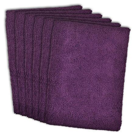 Set of 6 Eggplant Purple Ultra Absorbent Microfiber Dish Towels 15.75