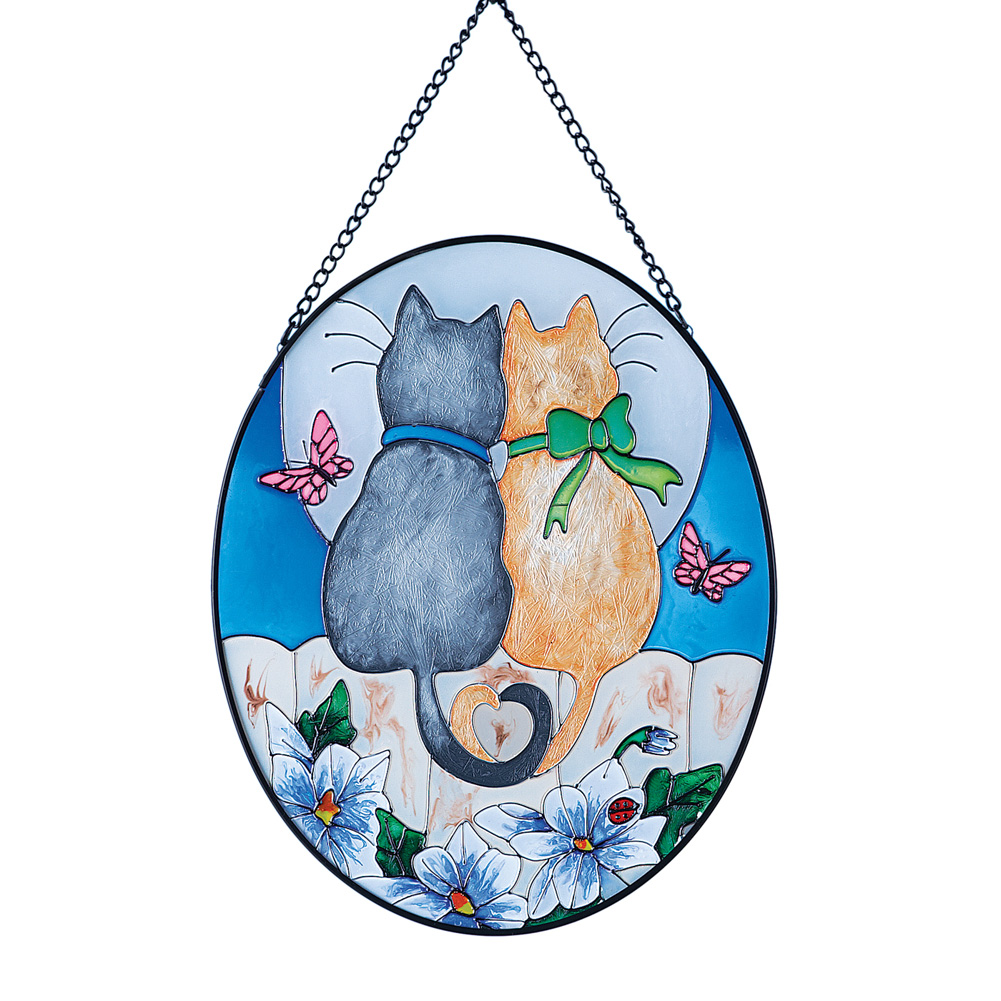 Cuddling Cats Spring Suncatcher for Windows - Perfect Gift for Cat Lovers