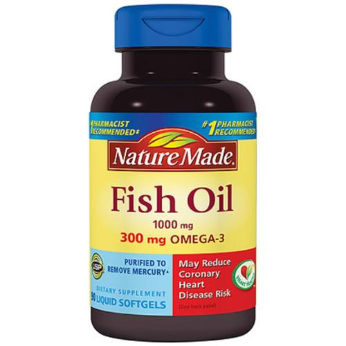 Nature Made Fish Oil, 1000 mg Liquid Softgels 90 ea (Pack of 2)