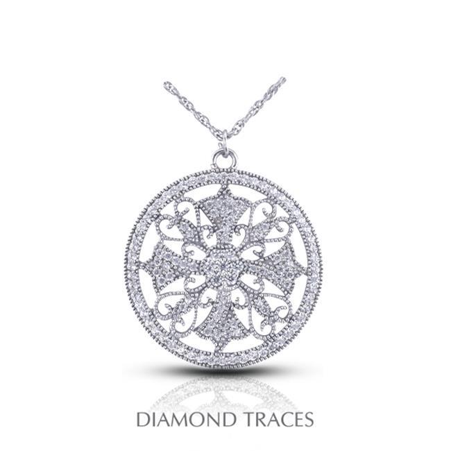 Diamond Traces UD-OS2660-0552 0. 56 Carat Total Natural Diamonds 14K White Gold Pave Setting Circle with Milgrain Fashion