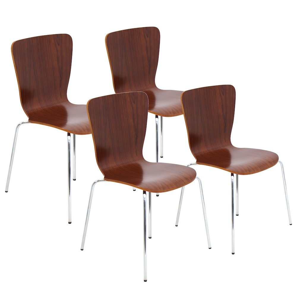 Bentwood Stacker Dining Chair in Walnut with Chrome Legs by Lumisource Set of 4 by
