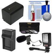Essentials Bundle for Sony Handycam HDR-PJ540, HDR-PJ670 & HDR-PJ810 Camcorders with LED Light + Microphone + NP-FV70 Battery & Charger + Filters Kit