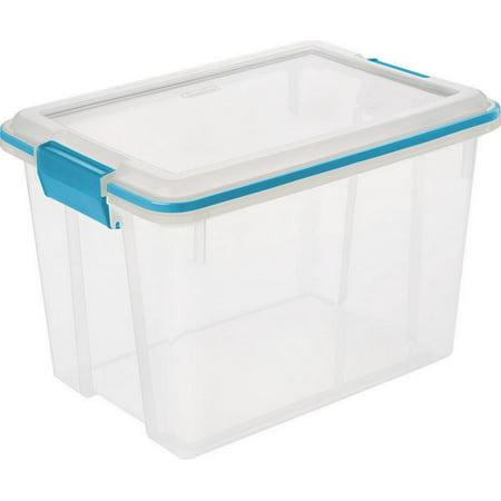 Sterilite 20 Quart 1932 Clear Gasket Box with Blue Aquarium Latches & Gasket