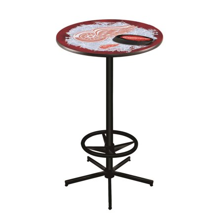 Detroit Red Wings 42 Inch High, 28 Inch Top Black L216 Pub Table Detroit Lions Pub Table