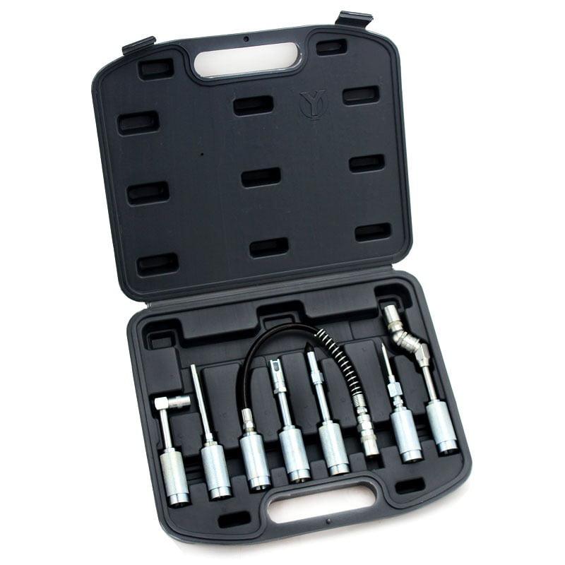 Lubing Hose Tip Assortment Grease Gun Adaptor Kit, 7PC