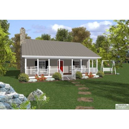 TheHouseDesigners-6746 Construction-Ready Cottage House Plan with Slab Foundation (5 Printed Sets) (House Plans)