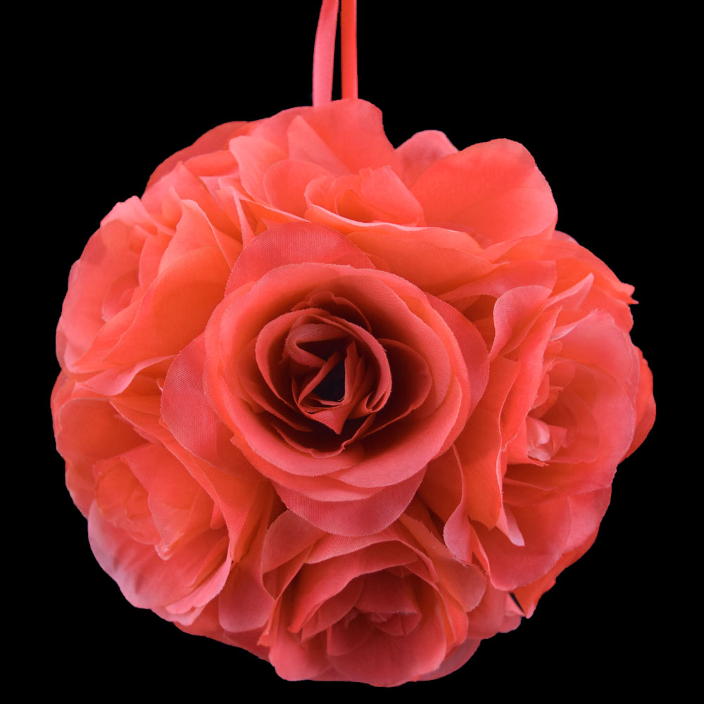 "6"" Red Coral Rose Flower Pomander Small Wedding Kissing Ball for Weddings and Decoration"