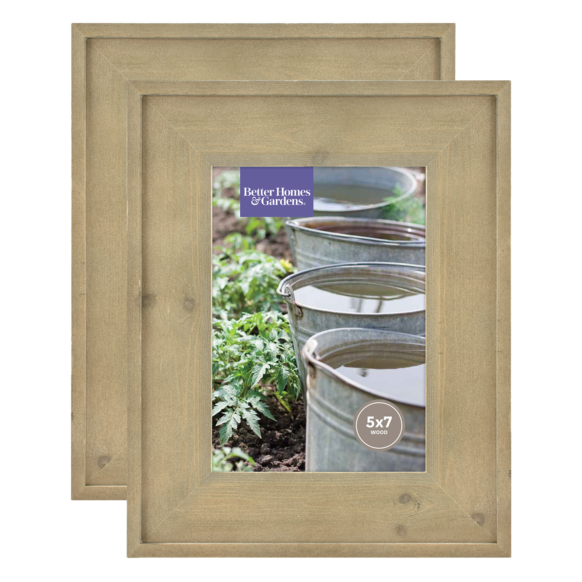 """Better Homes & Gardens 5"""" x 7"""" Rustic Wood Picture Frame, Pack of 2"""