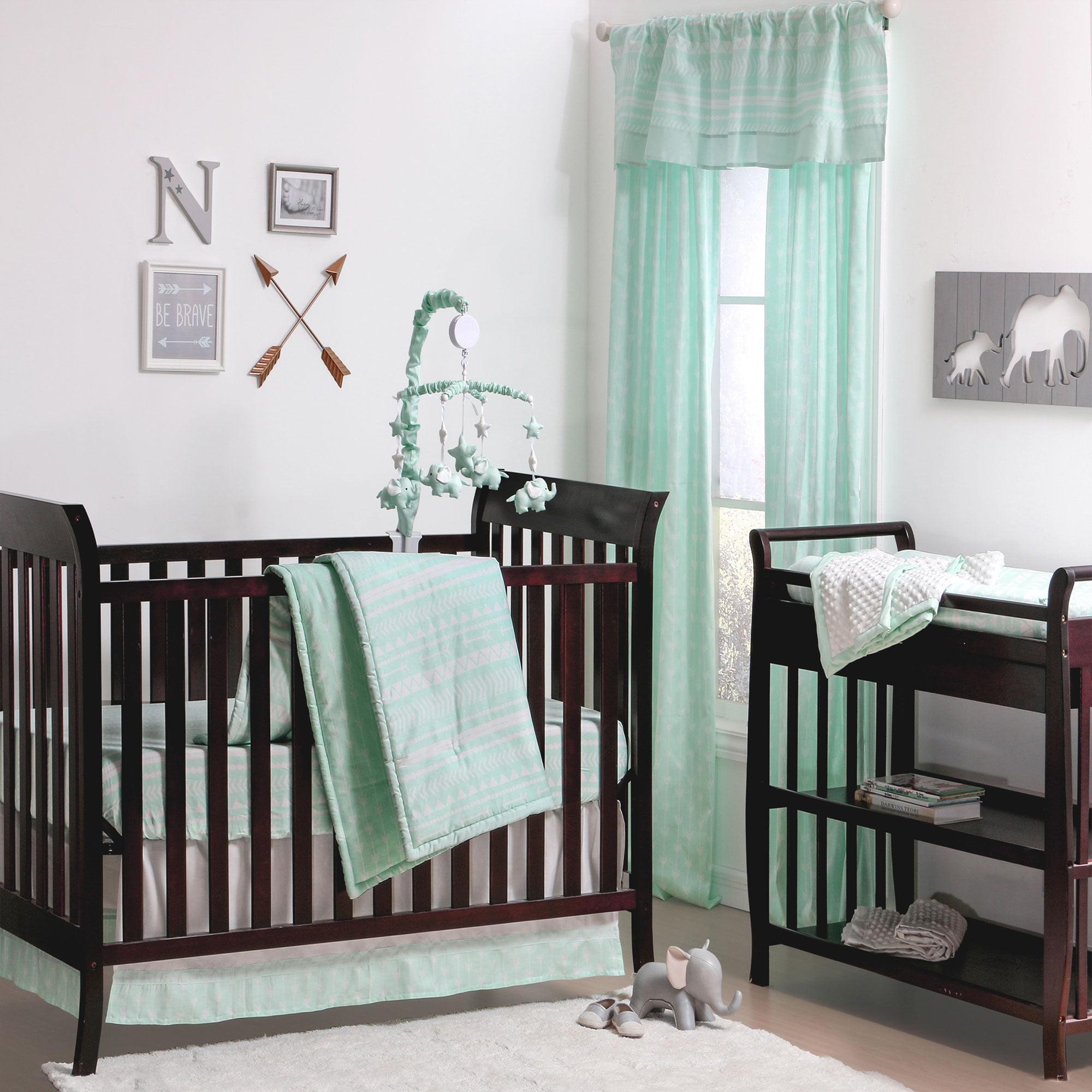 The Peanut Shell 3 Piece Baby Crib Bedding Set Mint Green Tribal Print Geometric 100 Cotton Quilt Skirt And Sheet