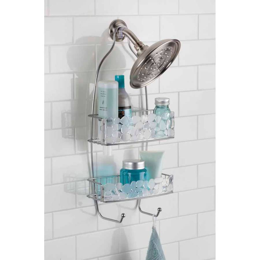InterDesign Pebblz Bathroom Shower Caddy for Shampoo, Conditioner, Soap, Clear Silver by INTERDESIGN