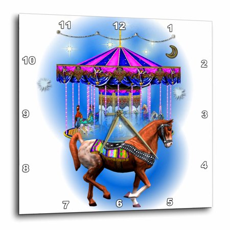 3dRose Beautiful decorated horse and blue carousel art, Wall Clock, 13 by 13-inch