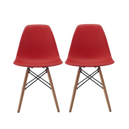 2 Black Dining Chairs - Madison Home Modern Chair Natural Wood Legs in Color White, Black and Red Dining Chairs (Set of 2)