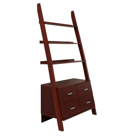 Cherry Finished Ladder Bookshelf With Drawers