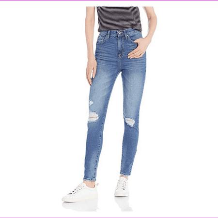 JESSICA SIMPSON Womens Blue Distressed Hi-rise Ankle Jeans Juniors Size: 29 Waist