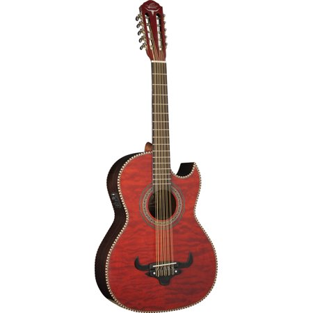- Oscar Schmidt BAJO QUINTO A/E Guitar, Burled Maple Top, Red, Gig Bag, OH32SEQTR