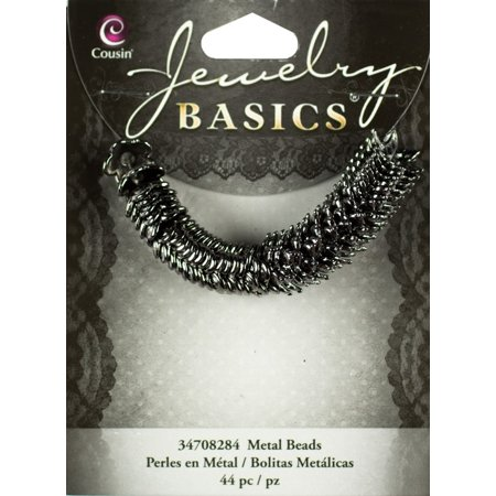 Cousin Jewelry Basics Metal Beads, 10mm, 44pk, Gunmetal Mixed - Design Bead Cap