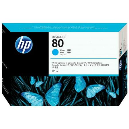 HP 80 175-ml Cyan DesignJet Ink Cartridge (C4872A) (Single Pack) 80 Cyan Ink Cartridge