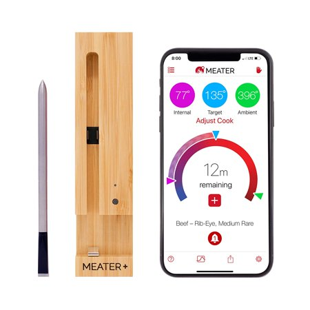 Meat Roasting Thermometer - New MEATER+165ft Long Range Smart Wireless Meat Thermometer for The Oven Grill Kitchen BBQ Smoker Rotisserie with Bluetooth and WiFi Digital Connectivity