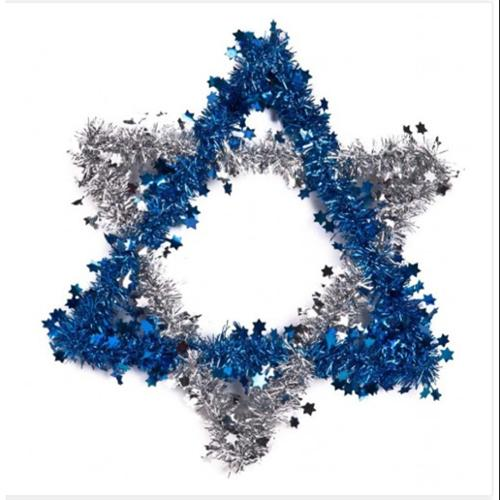 "12""  Shiny Blue and Silver Tinsel Star of David Festive Hanukkah Decoration"
