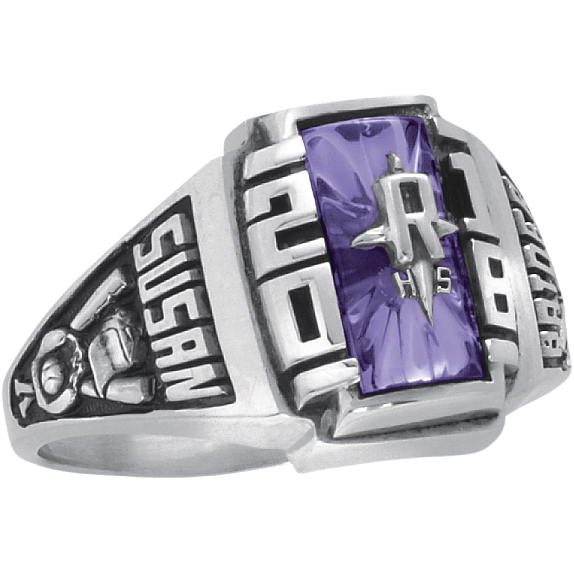 Keepsake Personalized Women's Crest Class Ring available in Valadium, Yellow and White Gold