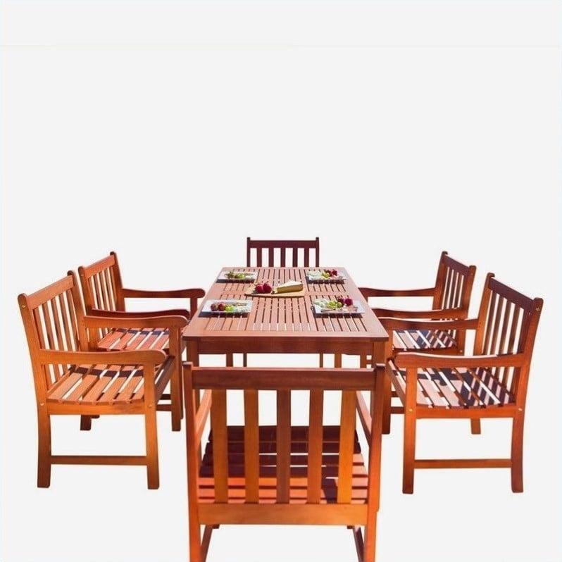Malibu Eco-Friendly 7-Piece Wood Outdoor Dining Set V98SET12