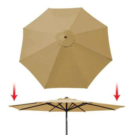 Sunrise 9ft 8 Ribs Outdoor, Patio Umbrella Cover Canopy, Replacement Cover Top, Beige (Cover Only, Umbrella Frame not (Replacement Umbrella Canopy For 9ft 8 Ribs)