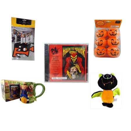 Halloween Fun Gift Bundle [5 Piece] - Trick or Treat Banner 42.5 x 5 Inches - Party Favors Pumpkin Candy Containers 6 Count - Haunted Horror Sounds CD - Earthenware Scarecrow & Harvest Design Mug 14 - Halloween Horror Sounds Effects