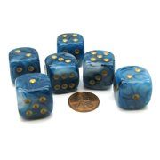 Chessex Phantom 20mm Big D6 Dice, 6 Pieces - Teal with Gold Pips #DP2089