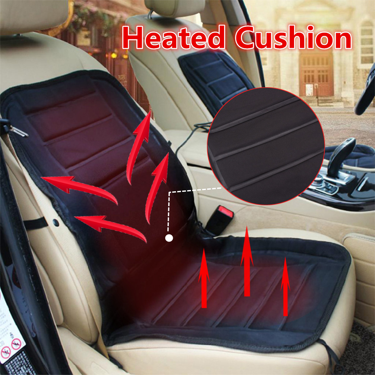 Car Heated Cushion Pad Warmer Winter Universal Seat Hot Heating Heat Cover 30w-45w 30°-60° Cigarette Lighter Adapter Vehicle Auto Van Truck SUV MATCC 12V