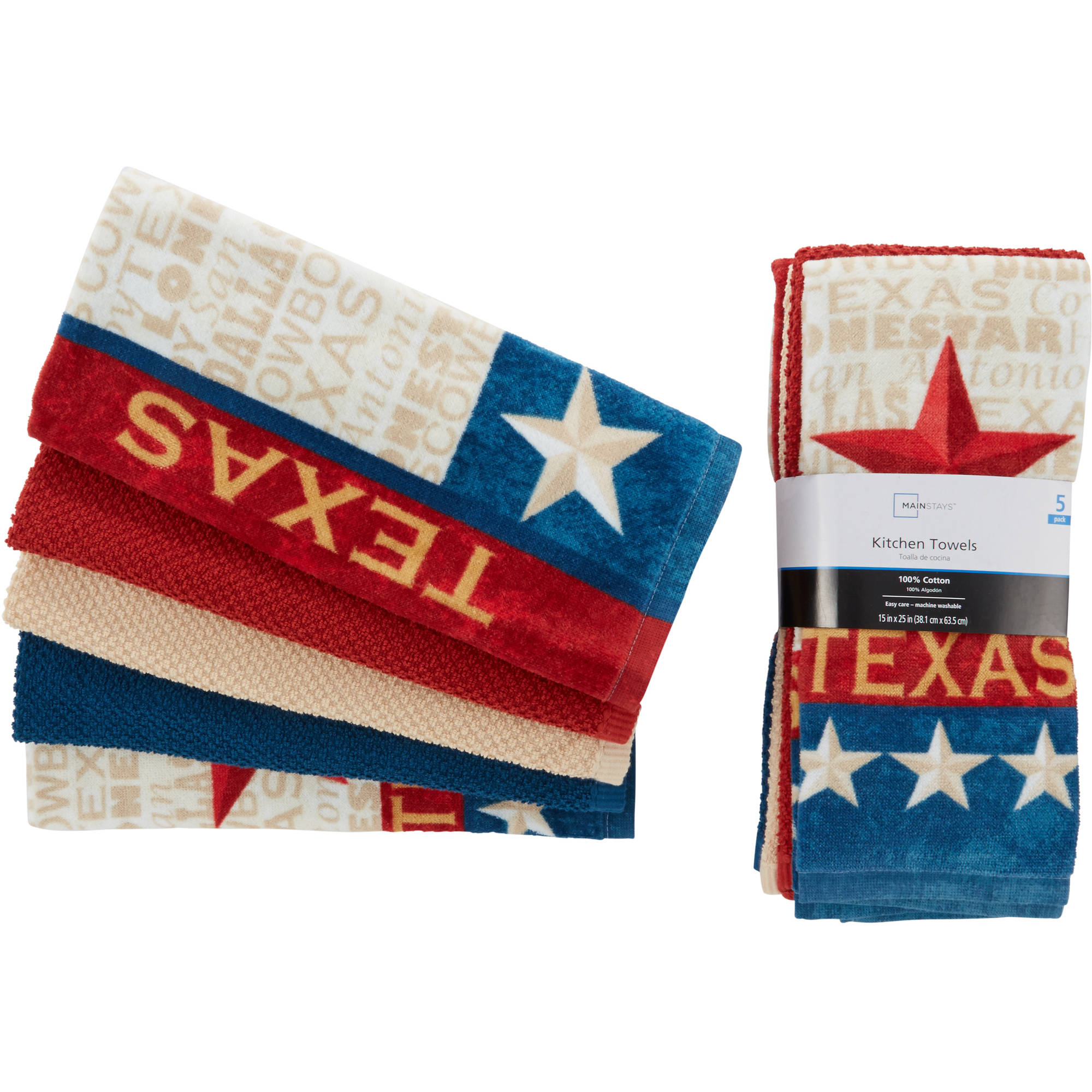Mainstays 5-Piece Texas Kitchen Towel Set