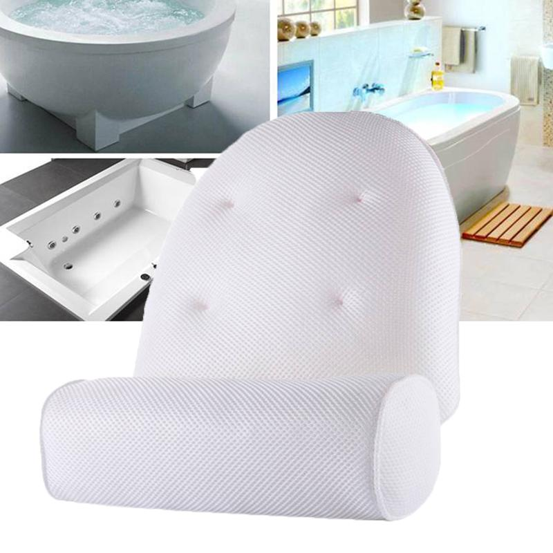 Yosoo Bathtub Head Rest Pillow,3D Mesh Spa Non-Slip Cushioned Bath Tub Spa Pillow Bathtub with Suction Cups for Neck and Back Support Neck Back Bathtub Pillow
