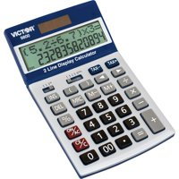 Victor, VCT9800, Easy Check Two-Line Calculator, 1 Each, Blue,White