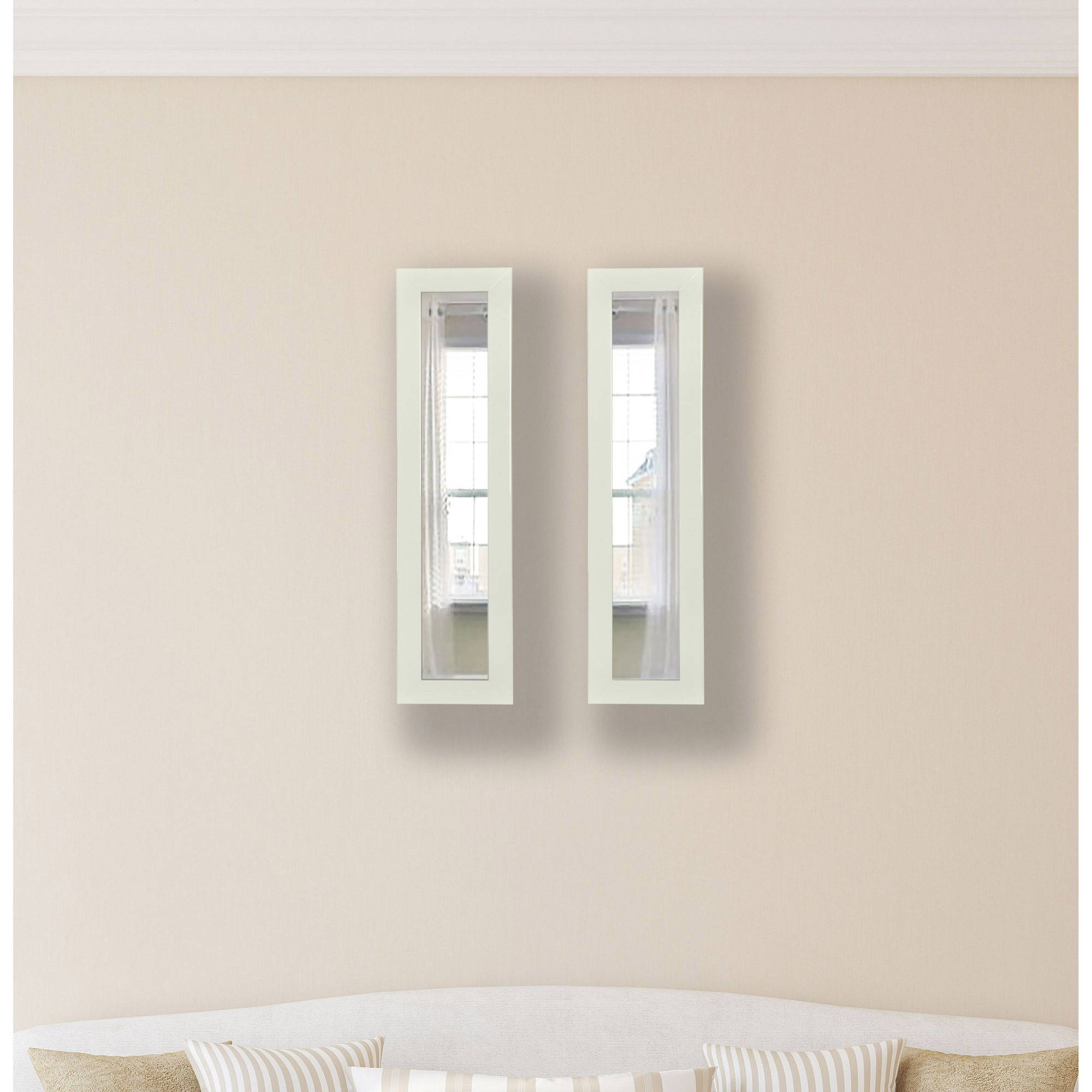 Rayne Glossy White Mirror Panel, Set of 2