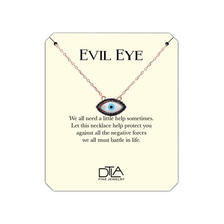 Gold Evil Eye Jewelry - DTLA Evil Eye Necklace in Sterling Silver with Inspirational Help Message Card - Rose Gold Plated Black CZ