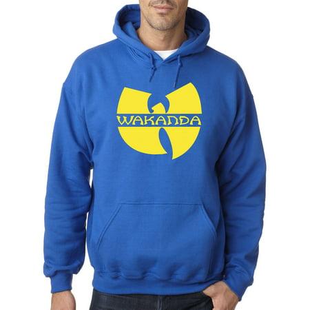 New Way 878 - Adult Hoodie Wakanda Wu-Tang Parody Logo Black Panther Sweatshirt XL Royal (Blue Panther)